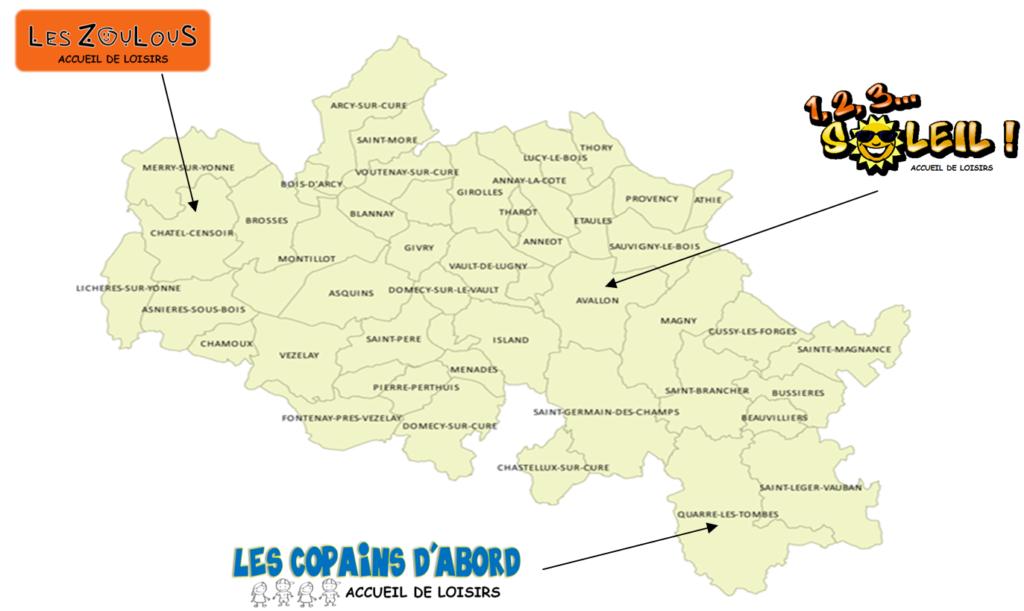 Carte des accueils loisirs de la CCAVM