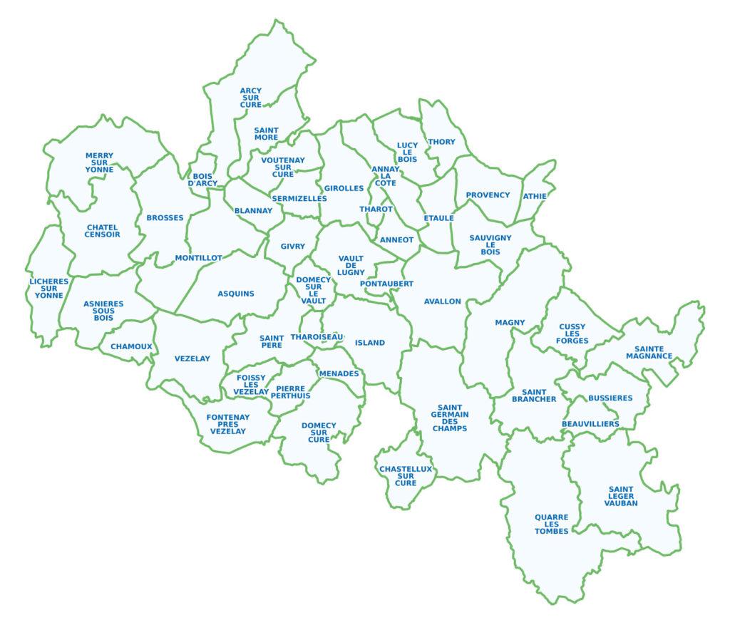 Carte des communes membres de la CCAVM